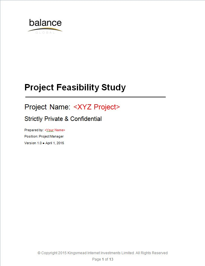 Project Feasibility Study Template | eBalance