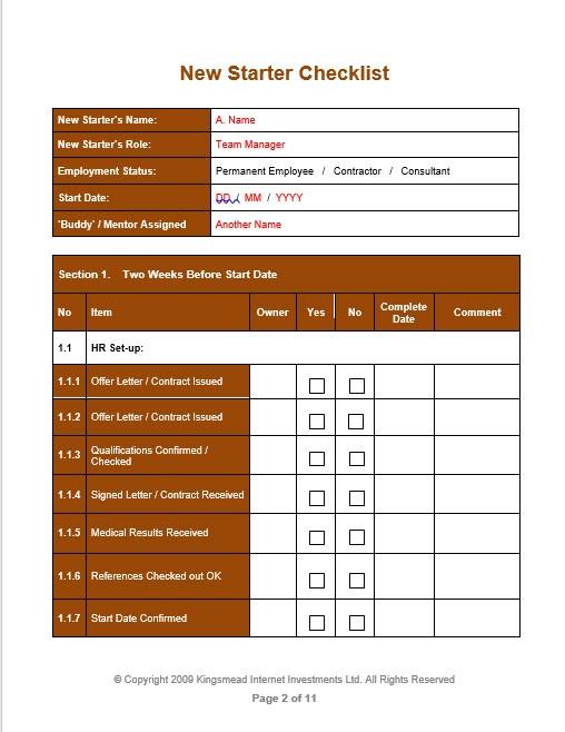 New Starter Checklist p2