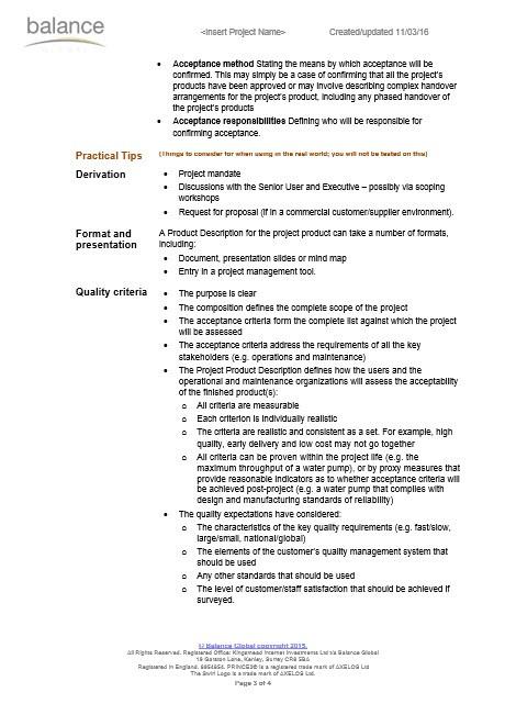 PRINCE2 Project Product Description   eBalance